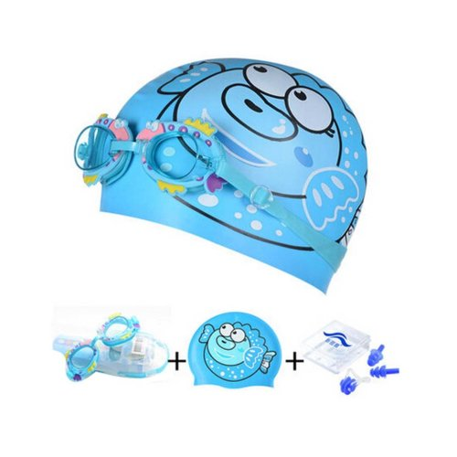 Balloonfish Pattern Childern Free Diving Goggles & Swimming Cap, Blue