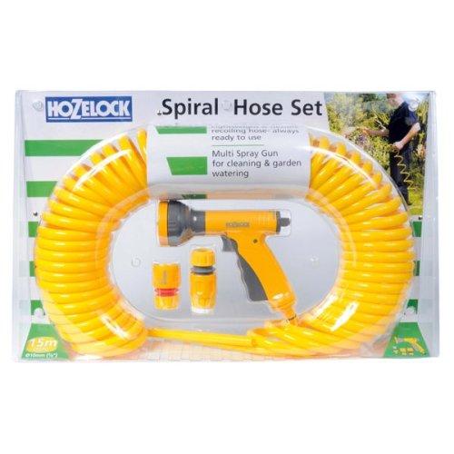 Yellow 15m Spiral Hose Set -  hose spiral hozelock 15m coiled