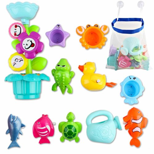deAO Kids Bathtime Fun Flower Sprinkler Toy with Watering Can, Waterwheel and Colored Stacking Cups; Wind-Up Animal Bath Toys and Mesh Bath Toy Storage Bag