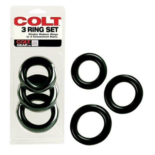 COLT 3 Ring Multi Size Cock Ring Set Black