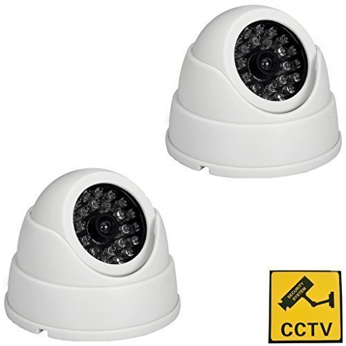 BW High Quality 2X Dummy Fake Surveillance Security CCTV Dome Camera With LED Blinking Real imitation White