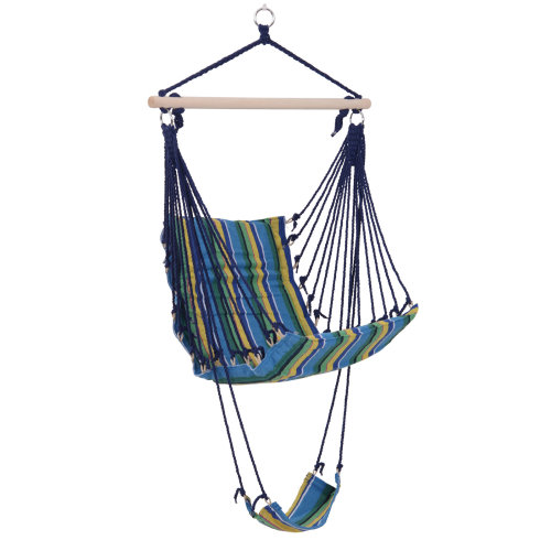 Outsunny Outdoor Hammock Hanging Rope Garden Yard Patio Swing Chair Seat Woodenwith Footrest Cotton Cloth Blue Stripe