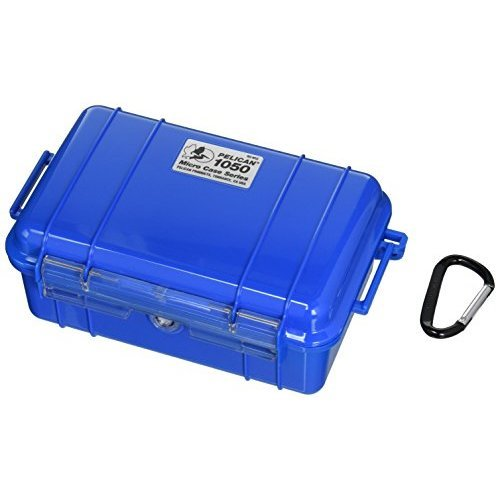 Pelican 1050 Blue Micro Case with Blue Solid Lid and Carabiner