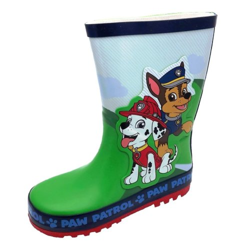 Paw Patrol Thick Rubber Wellies in Green and Blue