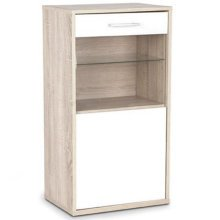 CONTEMPORARY - Wall / Floor Storage Cabinet with Glass Door and Shelf - Oak / White