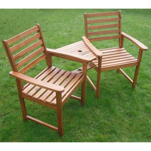 Ascot Companion Corner Bench Set | Wooden Garden Love Seat