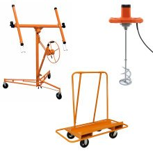 T-Mech Plastering Kit - Paddle Mixer, Dry Wall Hoist & Trolley