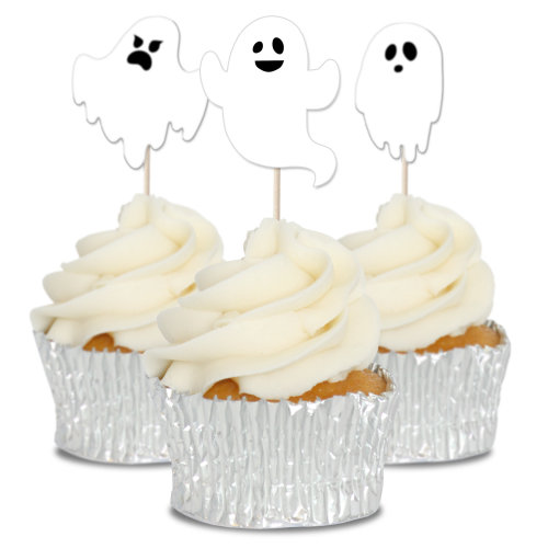 Ghost Cupcake Toppers Picks - 12pk
