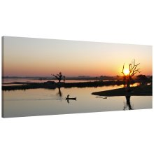 Canoe Lake Sunset Panorama Canvas Print Wall Art Picture