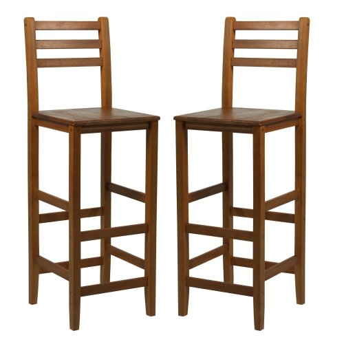 HOMCOM Set of 2 Acacia Hardwood Wooden Bar Stools with Backrest & Footrest for Counter Café Kitchen Breakfast Pub & Conservatory Teak Colour