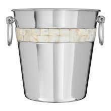 Champagne Bucket with Mother of Pearl Inlay Design, Silver