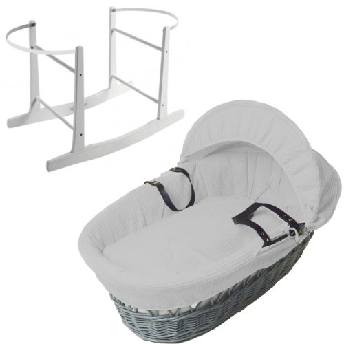 Grey Wicker Grey Waffle Moses Basket With White Rocking Stand