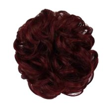 Fake Hair Bun with Elastic Hair Band, Easy to Wear [Red Wine]