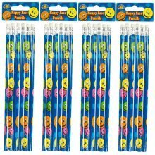24 Packs of 6 Happy Face Pencils with Eraser