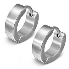 Urban Male Brushed Finish Stainless Steel Hinged Hoop Earrings for Men