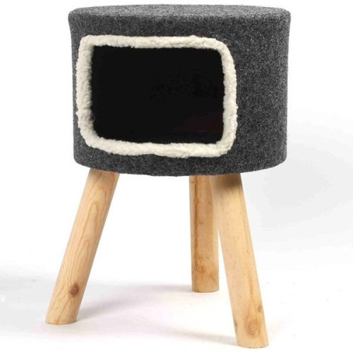 Cat Stool House Bed Den Stylish Minimal Look Wooden Legs Covered in Felt
