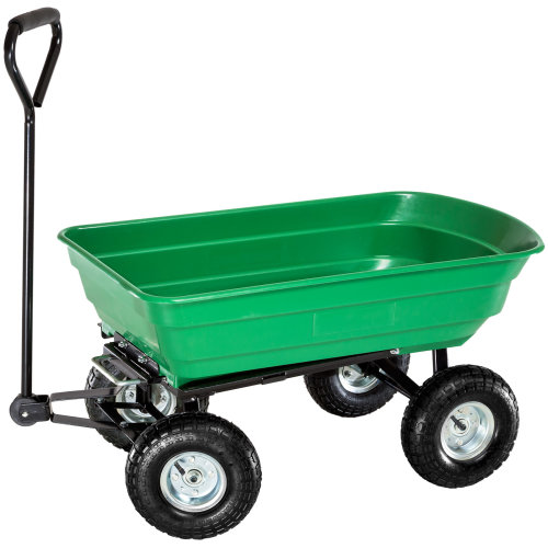 Tilting garden trolley with plastic tray