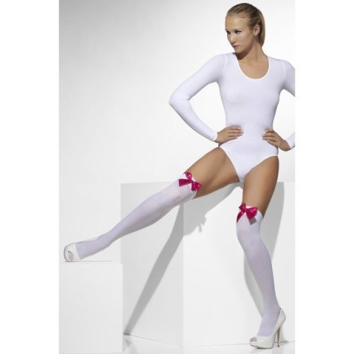 White Opaque Hold Ups -  white stockings fancy dress ladies accessory hold bow fuchsia ups bows pink womens thigh hosiery opaque sexy