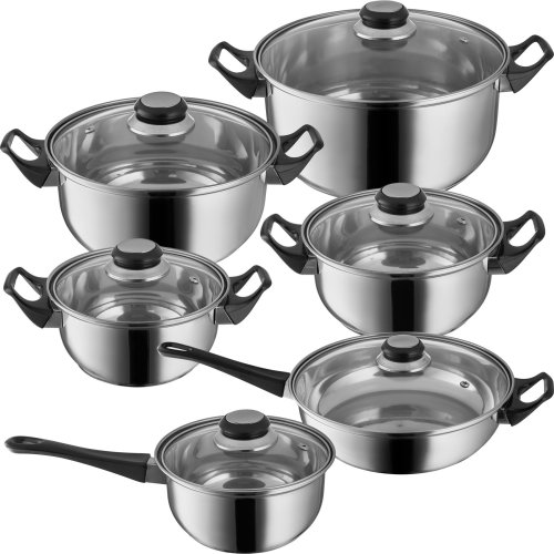 Stainless steel saucepan set with glass lid 12-PC.