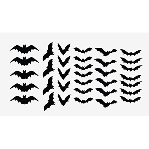Innovative Stencils Halloween Decor Scary Black Bats Decal Set of 34 Stickers Monster Black