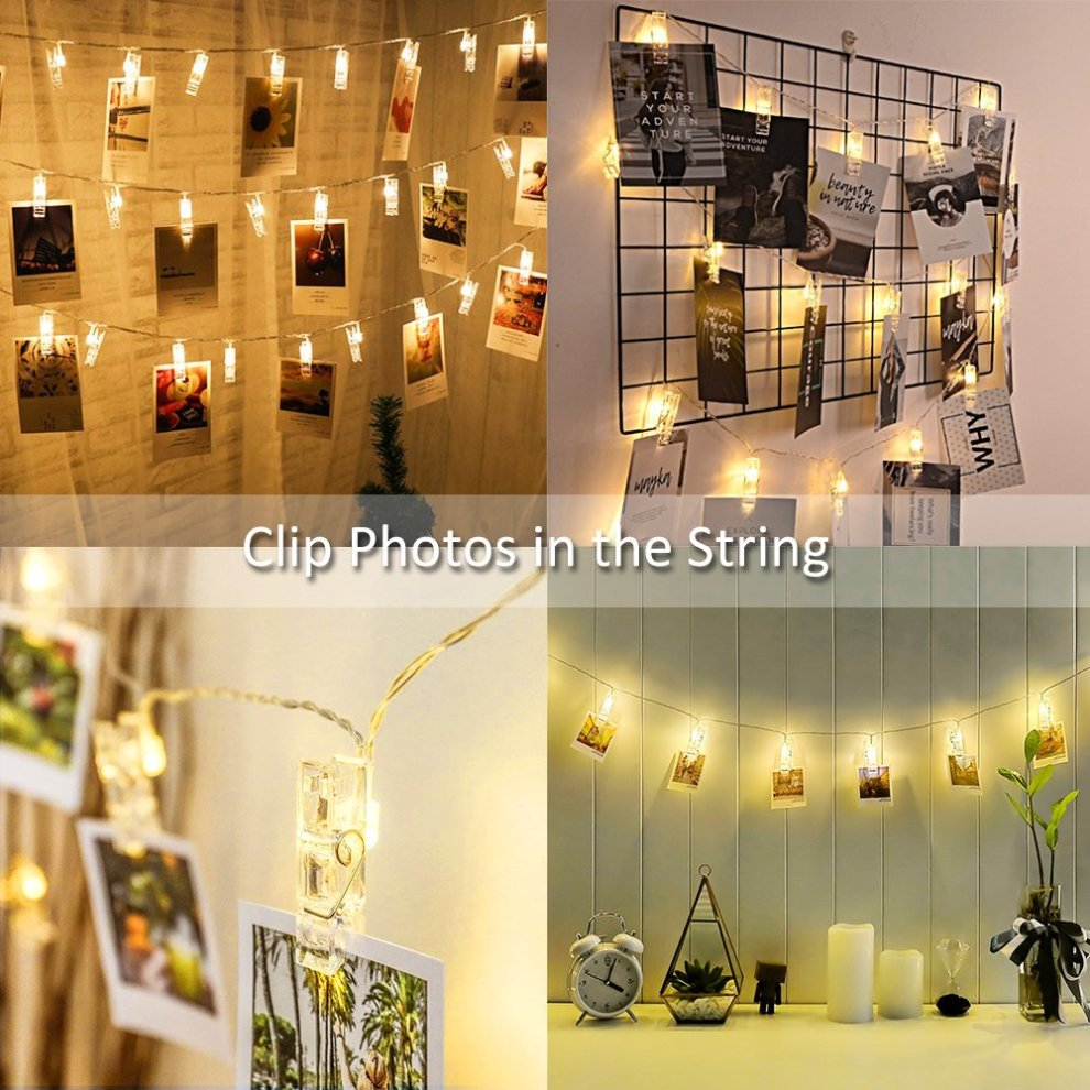 quality design 5961f 556c8 Ustellar Photo Peg Lights Battery Operated, 20 Clips 3.5M, LED Photo Clip  String Fairy Lights, Christmas Cards Hanger, Warm White, for Picture...