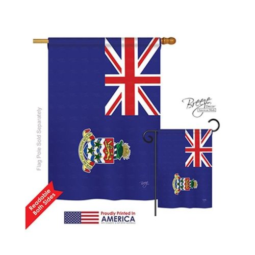 Breeze Decor 08266 Cayman Islands 2-Sided Vertical Impression House Flag - 28 x 40 in.