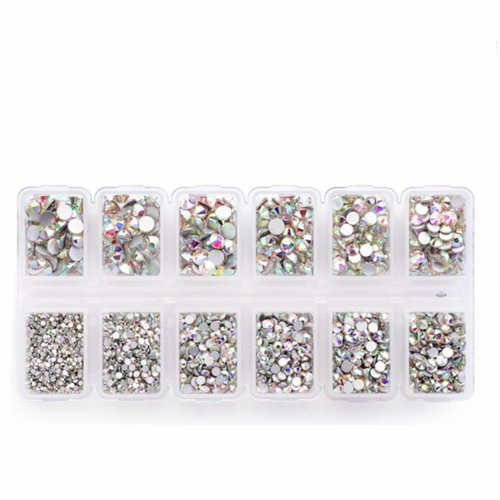 4200 Pieces Flat Back AB Rhinestones for Craft, Round Crystal Gems Stickers for Clothes, 1.5 mm - 4.8 mm, 6 Sizes
