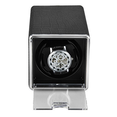 Excelvan Black Crocodile PU Automatic Watch Winder