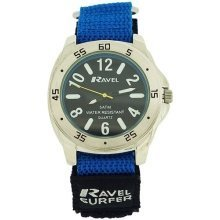Ravel Gents-Teen Surfer Black Dial With Black & Blue Velcro Strap Watch R5-11.6G