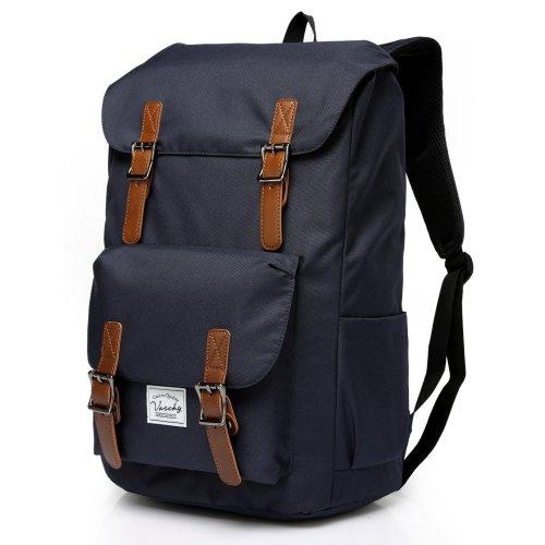 VASCHY Backpack Men Water-resistant Backpack Backpack Travel Vintage Backpack Hiking Backpack Laptop Backpack for 15.6 Inch -Blue