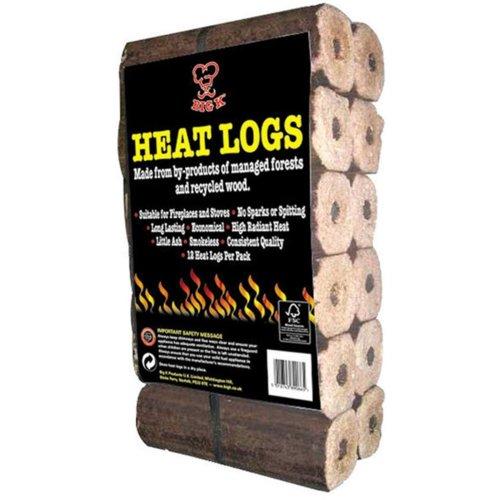 BigK 12 Heat Logs Eco HeatLogs. No Spark, No Spitting, High Heat, Long Lasting