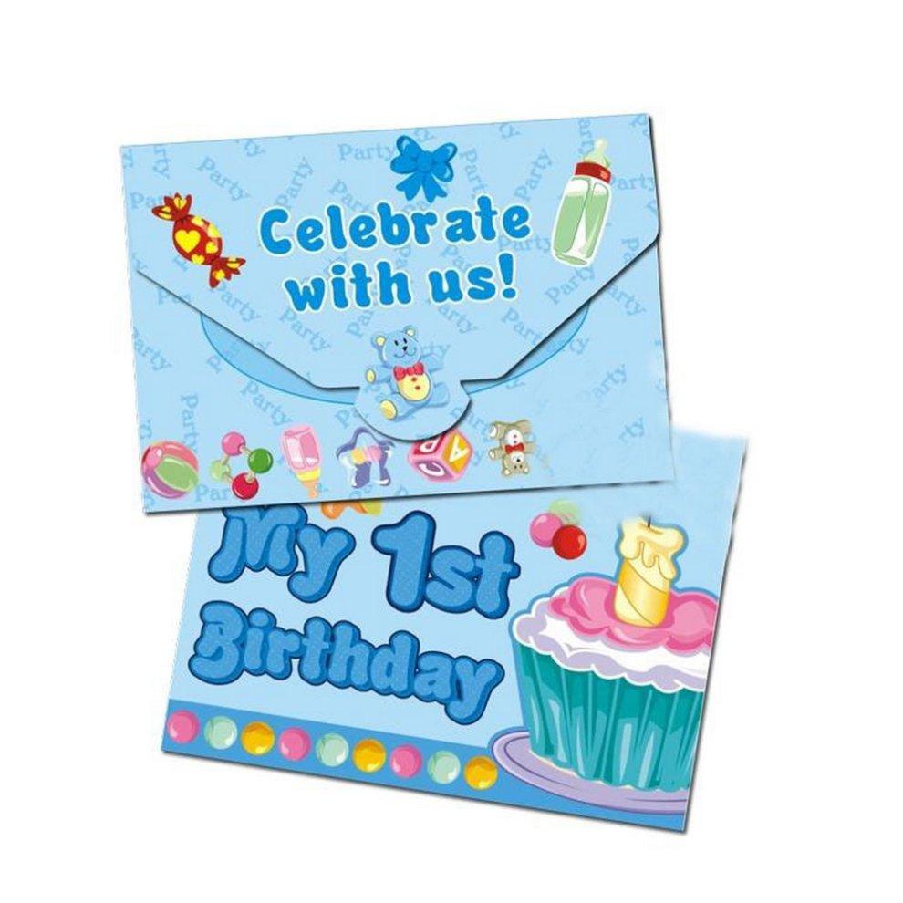 Baby Boy 1st Birthday Invitation Cards 20 Pcs