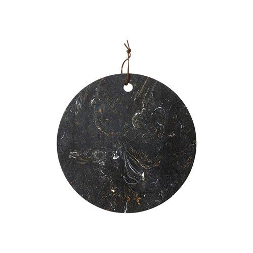 Ladelle Metta Round Stone Serving Board, Black