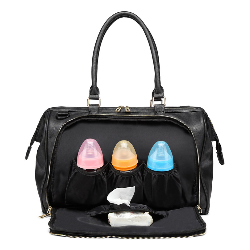 9bb4db48b72bc ... Miss Lulu 3 Pieces Baby Nappy Diaper Changing Bag PU Leather Black - 8  ...