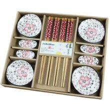 Wedding Business Gift Home Flatware Set Chopsticks/Holder/Irregular Dish 12PCS-Red
