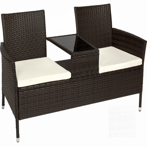a8423b911856 Poly rattan garden bench with table brown on OnBuy