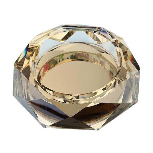 [Golden] Rhombus Shape Crystal Cigarette Ashtray Ash Tray Tabletop Decoration