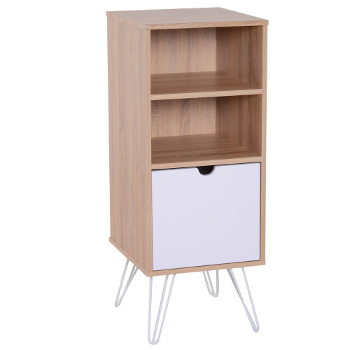 uk availability 2b1df 82e96 HOMCOM Bedside Table Night Stand Lamp Desk Bookcase Open Front Storage  Shelves Drawer with Metal Legs Scandinavian Nordic Retro Style