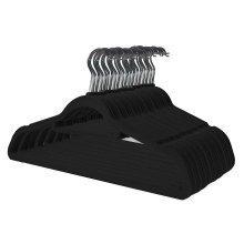 50 Black Non Slip Velvet Hangers With Tie Belt Scarf Holder