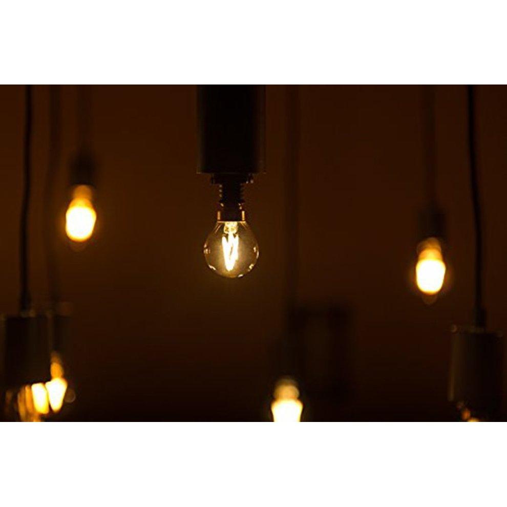 G40 LED Filament Mini Globe Light Bulb 1W - Ultra Warm White 2200K ( Amber  Glow ) - 10W Replacement Equivalent - E14 Candelabra Bulbs- Non Dimable