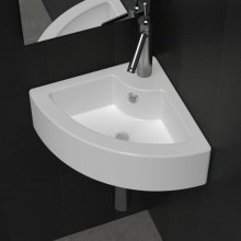 Ceramic Sink Basin Faucet & Overflow Hole Bathroom Corner White