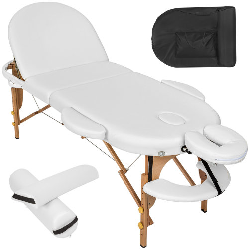 Massage table oval with 5 cm padding + rolls white