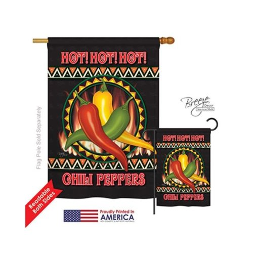 Breeze Decor 17031 Chili Peppers 2-Sided Vertical Impression House Flag - 28 x 40 in.