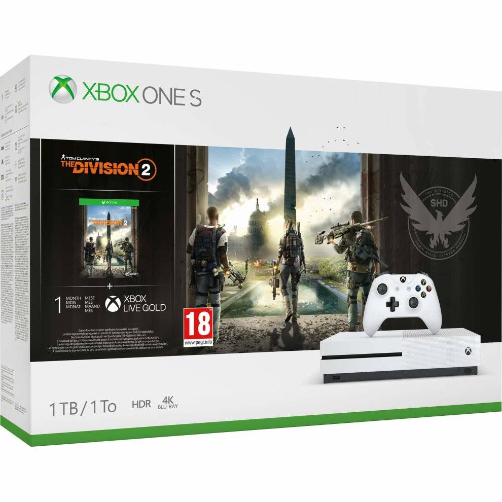 Xbox One S 1TB Console - Tom Clancys The Division 2 Bundle Xbox One New