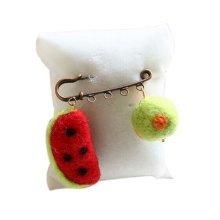 Cute Cartoon Animal Wool Felt Brooch Pin Clothing Accessories, Watermelon