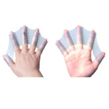 Silicone Swim Gear Fins Hand Webbed Flippers Training Glove for Adults, M, Blue