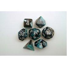 Chessex Gemini Polydice Set - Black-Shell w/white