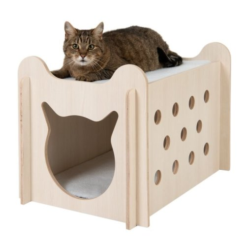 Peekaboo Cat Bed Double Storey Wooden Hideaway Cushion