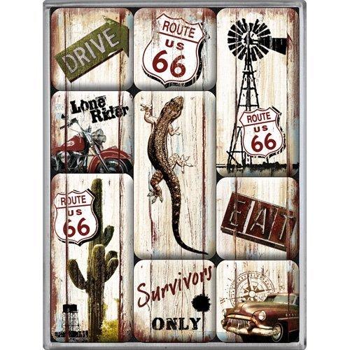 Nostalgic Art 83049 Highways Desert US Route 66 Survivor, Magnet Set 9–Piece