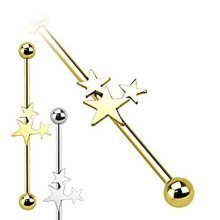 Triple Star Cluster Industrial Scaffolding Bar Piercing Thickness : 1.6mm Length : 38mm Material : Surgical Steel